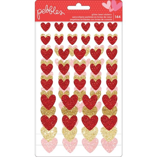 Pebbles - My Funny Valentine Collection - Cardstock Stickers - Glitter Hearts