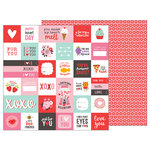 Pebbles - My Funny Valentine Collection - 12 x 12 Double Sided Paper - Valentine Wishes