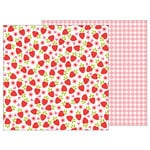 Pebbles - My Funny Valentine Collection - 12 x 12 Double Sided Paper - Fresh Strawberries