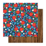 Pebbles - America the Beautiful Collection - 12 x 12 Double Sided Paper - Patriotic Posies