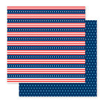Pebbles - America the Beautiful Collection - 12 x 12 Double Sided Paper - Stars and Stripes