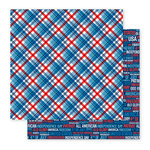 Pebbles - America the Beautiful Collection - 12 x 12 Double Sided Paper - American Plaid