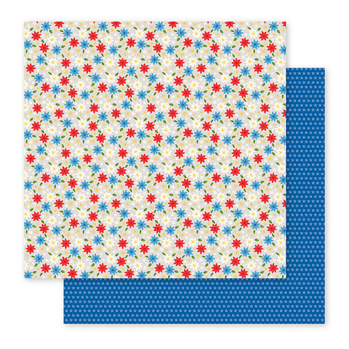 Pebbles - America the Beautiful Collection - 12 x 12 Double Sided Paper - American Blooms
