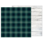 Pebbles - Warm and Cozy Collection - 12 x 12 Double Sided Paper - Green Plaid