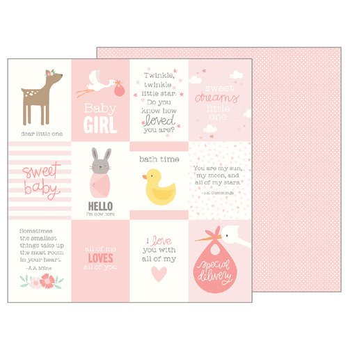Pebbles - Lullaby Collection - 12 x 12 Double Sided Paper - Baby Girl Quotes