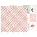 Pebbles - Lullaby Collection - 12 x 12 Double Sided Paper - Baby Girl Plaid