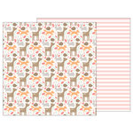 Pebbles - Lullaby Collection - 12 x 12 Double Sided Paper - Woodland Baby Girl