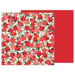 Pebbles - Merry Merry Collection - Christmas - 12 x 12 Double Sided Paper - Poinsettia Blossoms