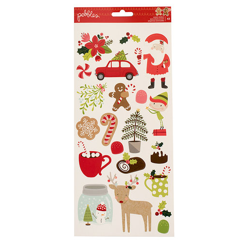 Pebbles - Merry Merry Collection - Christmas - Cardstock Stickers with Glitter Accents