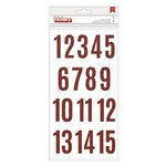Pebbles - Merry Merry Collection - Christmas - Thickers - Printed Chipboard - Numbers - Red Glitter