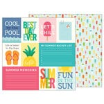 Pebbles - Sunshiny Days Collection - 12 x 12 Double Sided Paper - Hello Summer Quotes