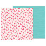 Pebbles - Sunshiny Days Collection - 12 x 12 Double Sided Paper - Pink Flamingos