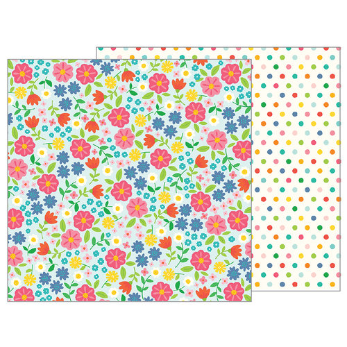Pebbles - Sunshiny Days Collection - 12 x 12 Double Sided Paper - Flower Garden
