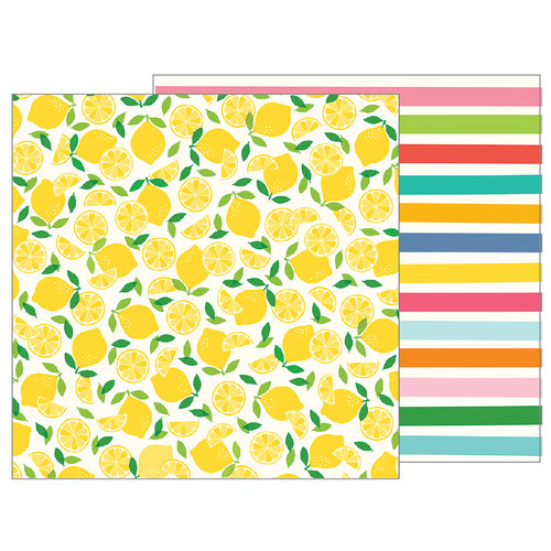 Pebbles - Sunshiny Days Collection - 12 x 12 Double Sided Paper - Fresh Squeezed