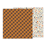 Pebbles - Midnight Haunting Collection - Halloween - 12 x 12 Double Sided Paper - Autumn Plaid