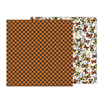 Pebbles - Midnight Haunting Collection - Halloween - 12 x 12 Double Sided Paper - Pumpkin Plaid