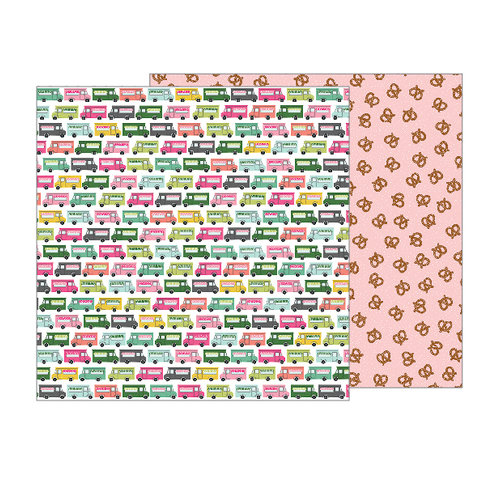 Pebbles - Girl Squad Collection - 12 x 12 Double Sided Paper - Food On The Go