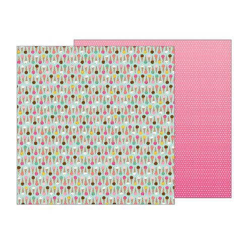 Pebbles - Girl Squad Collection - 12 x 12 Double Sided Paper - Cool Treat