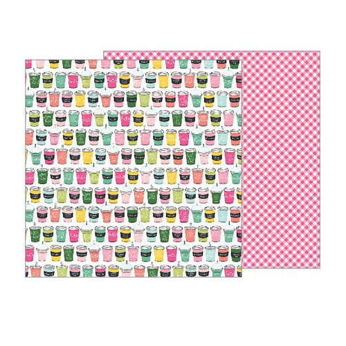 Pebbles - Girl Squad Collection - 12 x 12 Double Sided Paper - Soda Shop