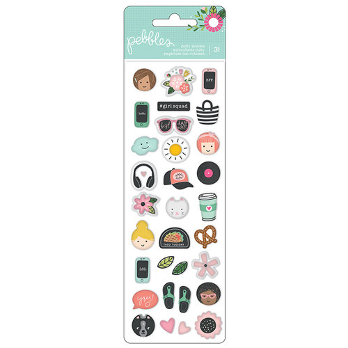 Pebbles - Girl Squad Collection - Mini Puffy Stickers