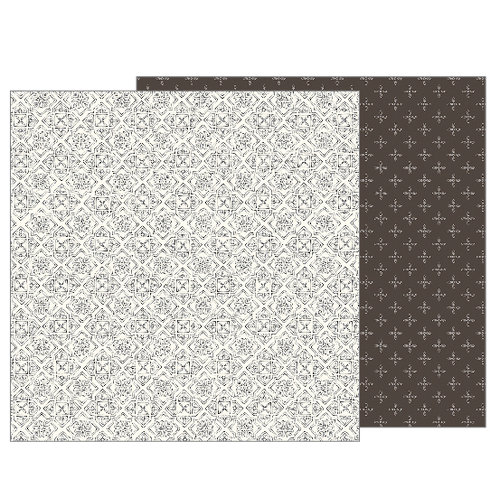 Pebbles - Heart of Home Collection - 12 x 12 Double Sided Paper - Antique Tile