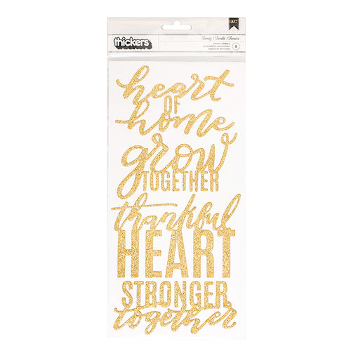 Pebbles - Heart of Home Collection - Thickers - Phrase - Gold Glitter