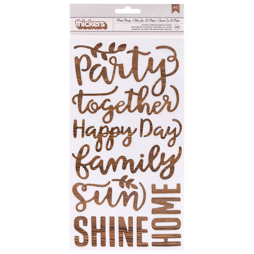 Pebbles - Patio Party Collection - Thickers - Printed Cardstock - Phrase - Wood