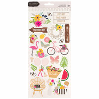 Pebbles - Patio Party Collection - Cardstock Stickers with Foil Accents