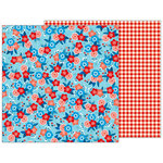 Pebbles - Land That I Love Collection - 12 x 12 Double Sided Paper - Patriotic Blossoms