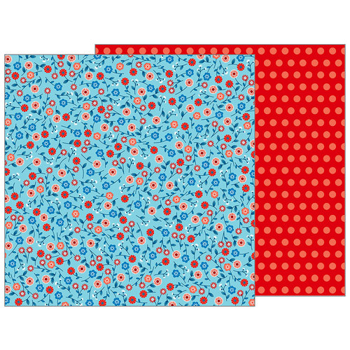 Pebbles - Land That I Love Collection - 12 x 12 Double Sided Paper - Patriotic Blooms