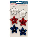 Pebbles - Land That I Love Collection - 3 Dimensional Stickers with Glitter Accents - Star Rosettes