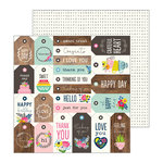 Pebbles - My Bright Life Collection - 12 x 12 Double Sided Paper - Tag You're It