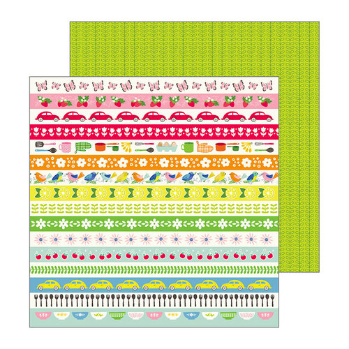 Pebbles - My Bright Life Collection - 12 x 12 Double Sided Paper - Retro Stripes