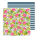 Pebbles - My Bright Life Collection - 12 x 12 Double Sided Paper - Flower Market