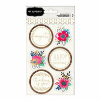 Pebbles - My Bright Life Collection - 3 Dimensional Stickers with Foil Accents