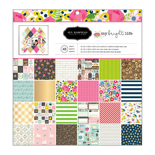 Pebbles - My Bright Life Collection - 12 x 12 Paper Pad with Foil Accents