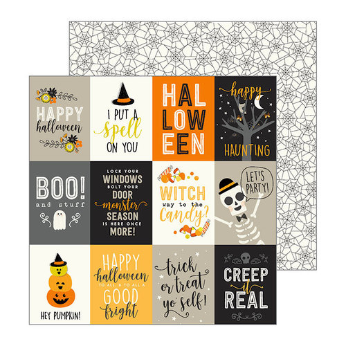 Pebbles - Spooky Boo Collection - Halloween - 12 x 12 Double Sided Paper - Boo Stuff