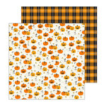 Pebbles - Spooky Boo Collection - Halloween - 12 x 12 Double Sided Paper - Hey Pumpkin