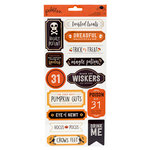 Pebbles - Spooky Boo Collection - Halloween - Cardstock Stickers with Foil Accents - Labels
