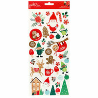 Pebbles - Cozy and Bright Collection - Christmas - Cardstock Stickers with Glitter Accents