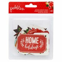 Pebbles - Cozy and Bright Collection - Christmas - Ephemera with Glitter Accents - Phrases