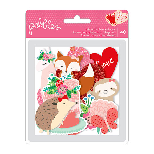 Pebbles - Loves Me Collection - Ephemera with Glitter Accents - Icons