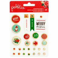 Pebbles - Cozy and Bright Collection - Christmas - Decorative Brads