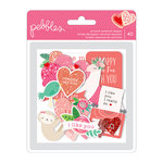 Pebbles - Loves Me Collection - Ephemera with Glitter Accents - Quotes