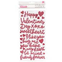 Pebbles - Loves Me Collection - Thickers - Foam - Phrase - Red Glitter