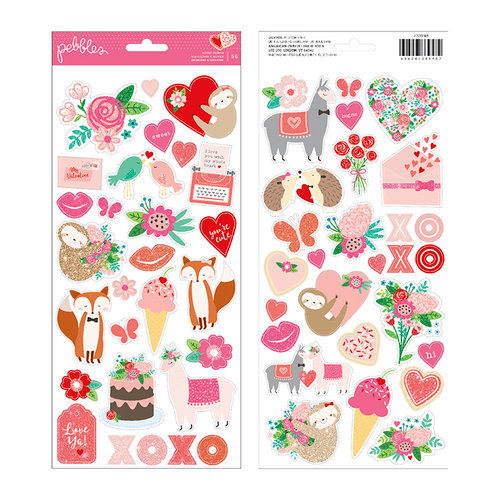 Pebbles - Loves Me Collection - Cardstock Stickers with Glitter Accents - Icons and Accents