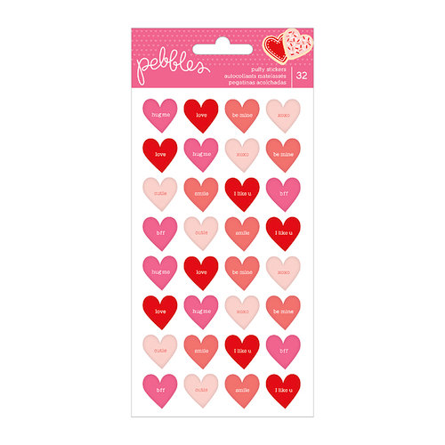 Pebbles - Loves Me Collection - Puffy Stickers - Conversation Hearts