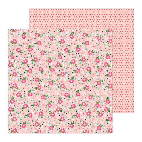 Pebbles - Loves Me Collection - 12 x 12 Double Sided Paper - Flower Power