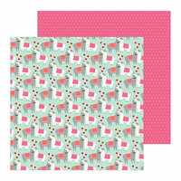 Pebbles - Loves Me Collection - 12 x 12 Double Sided Paper - Llama Love