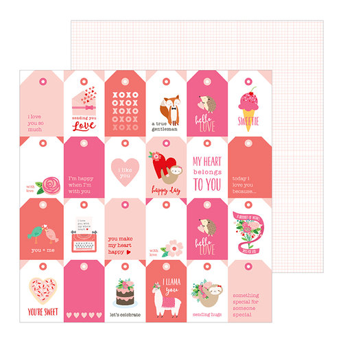 Pebbles - Loves Me Collection - 12 x 12 Double Sided Paper - Tag You're It